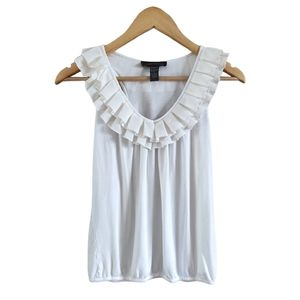 Cable & Gauge White Ruffle Neck Tank Top Shirt S